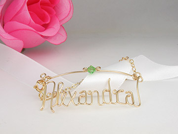 personalized name in gold wire