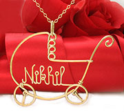 Stroller w/ Baby Name Pendant Necklace