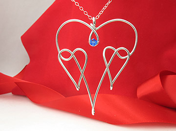 Two Hearts As One, Pendant Hand-Crafted from a single continuous piece of solid 16 Gauge wire