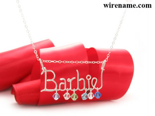 personalized silver wire necklace