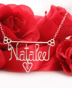 silver wire name necklace