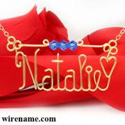 Personalized wire name necklace in gold wire Natalie