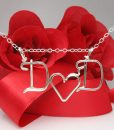 Personalized initials necklace in silver or gold wire