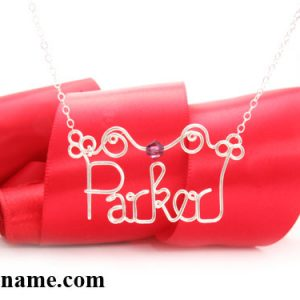silver necklace personalized name