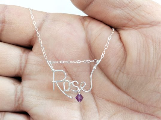 personalized wire name necklace silver jewelry