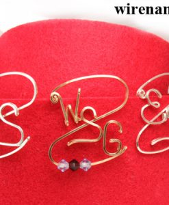 Personalized initials pin brooch in silver or gold wire