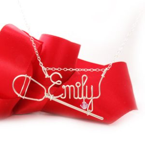 Personalized wire name necklace with lacrosse-stick