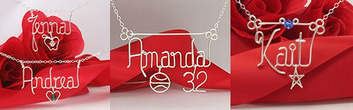 Personalized wire name necklace with charm