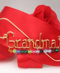 Grandma wire pin, lapel pin with 13stones /grandkids pin brooch oma Nana