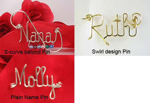 Personalized Wire Name Pins, wire pin, lapel pin with 13stones /grandkids pin brooch oma Nana