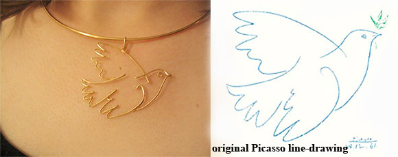 "Pablo Picasso ""Blue Dove"" pendant in wire only"