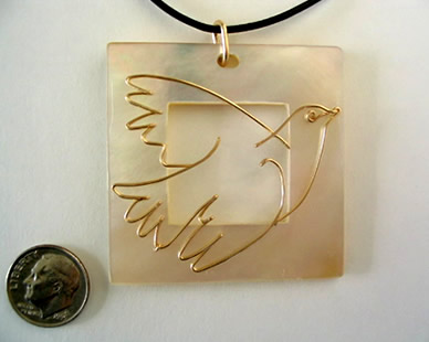 "Picasso's ""Blue Dove"" with Mother of Pearl pendant"