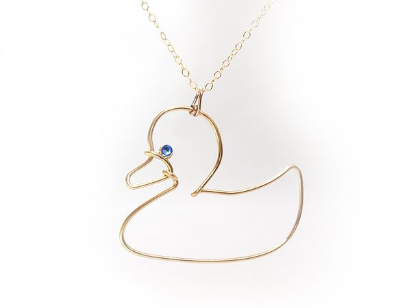 Toy Duck gold pendant necklace, duck icon earings
