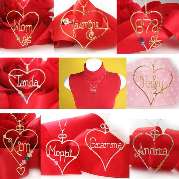 Personalized Heart wire name pendant, necklace