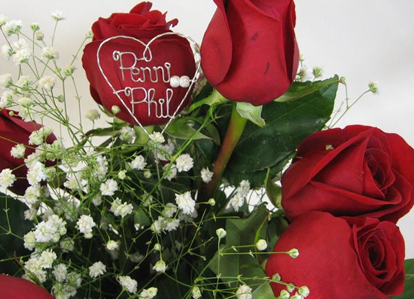 unusual idea for your wedding bouquet, initials in the centre of the bridal bouquet