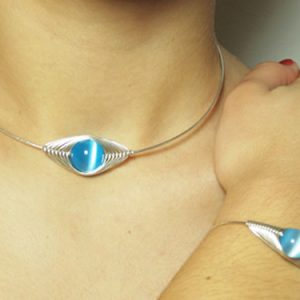 Blue_Choker and Bracelet in silver wire