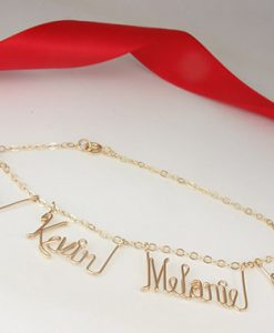 Personalized gold wire name bracelet, anklet