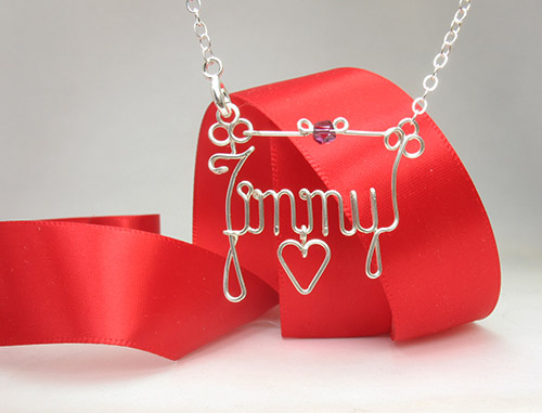 Personalized wire name anklet, bracelet, heart charm