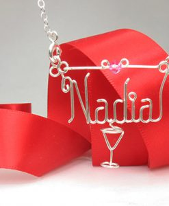 pendant martini glass charm for name necklace