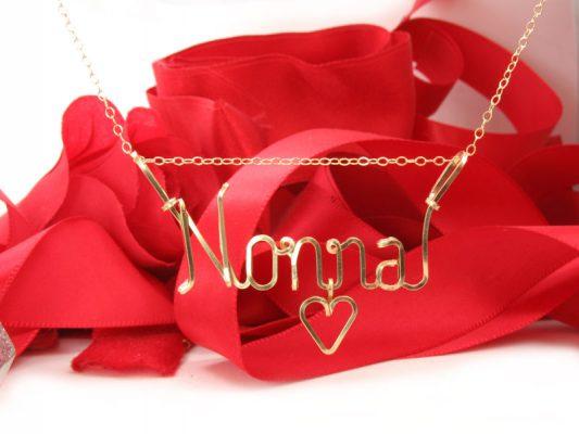 Nonna wire necklace, Nana, Grandma in gold wire