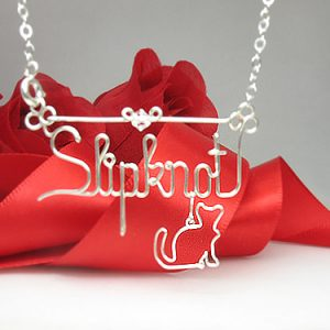 Personalized wire name anklet, bracelet, necklace with cat charm pendant