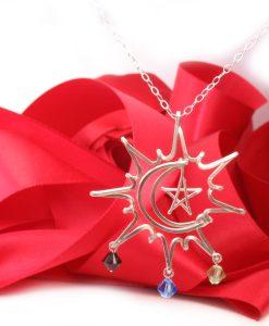 Pendant, Sun-Moon-Star, wire charm pendant necklace