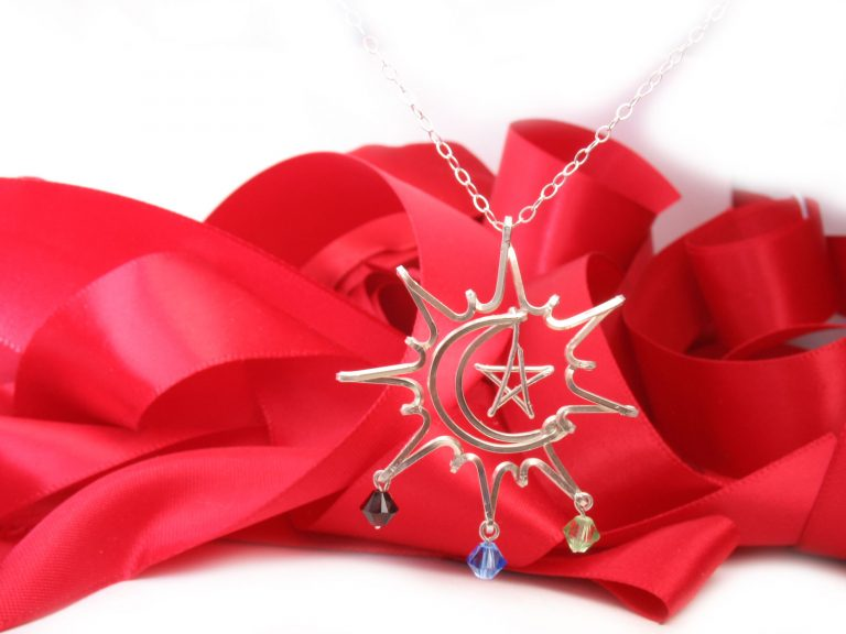 Pendant, Sun-Moon-Star, wire charm pendant necklace
