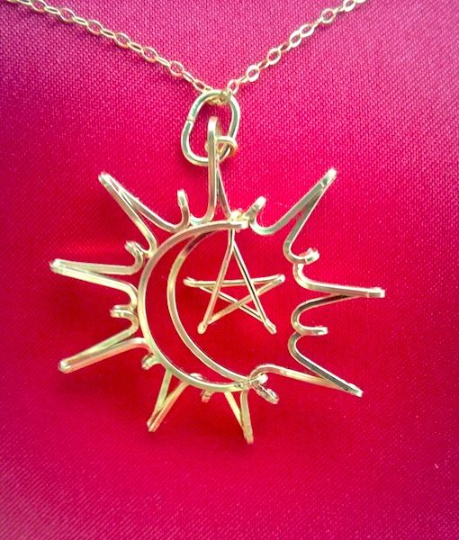 Sun-moon-star_gold-necklace-pendant, Forever Sun, Moon & Star, wire Pendant necklace