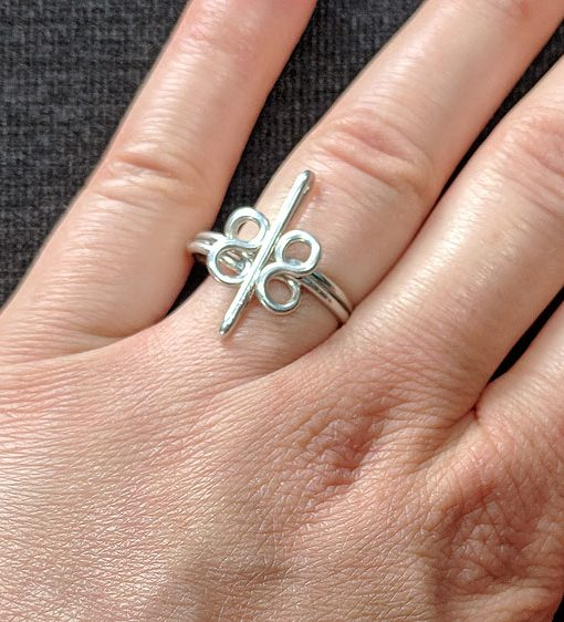 Heavy Silver wire Ring - infinity | infinity