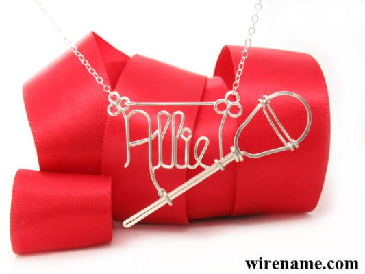 Lacrosse pendant, hanging number charm, personalized wire name necklace with lacrosse pendant in gold or silver wire