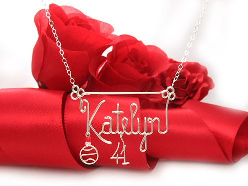 Basketball charm, hanging number pendant, personalized wire name necklace with basketball pendant in silver or gold wire