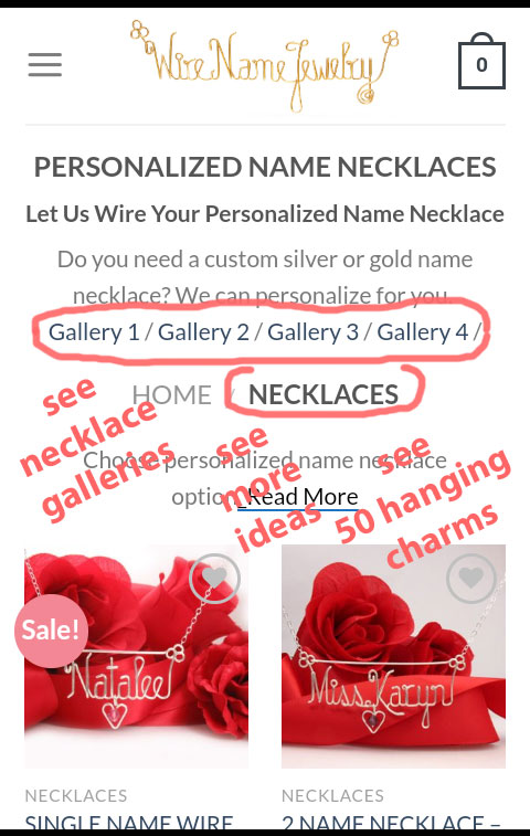 "see galleries ""personalized wire name necklaces"""