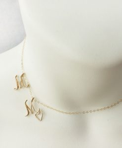 Side Initials necklace M M