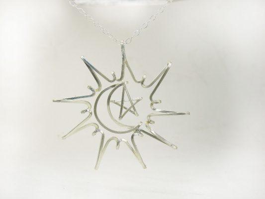 Sun Moon Star silver necklace