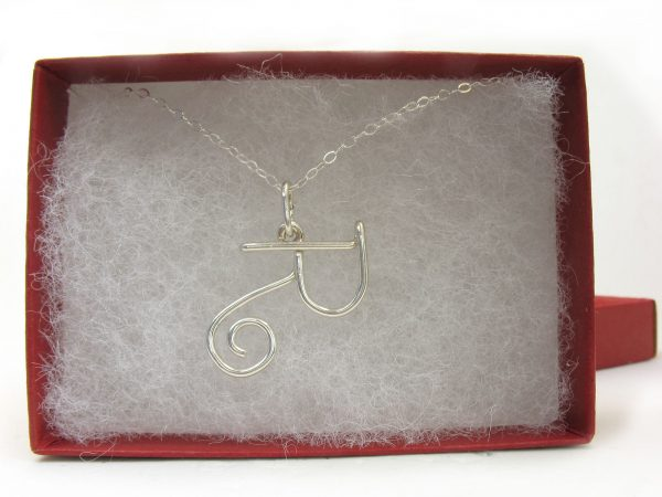 personalized wire initial necklace pendant R horizontal