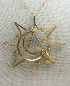 Sun Moon Star gold necklace
